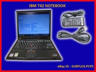 IBM T42 PM 1 7GHz 60GB CDRW DVD Laptop Notebook WiFi