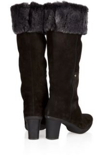 Stuart Weitzman Fureezin suede and faux fur knee boots
