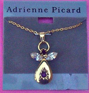 Adrienne Picard Locket Gold Plated with Amethyst Rhinestone Necklace A