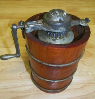 ANTIQUE WOOD SALESMAN SAMPLE WHITE MOUNTAIN JUNIOR ICE CREAM MAKER