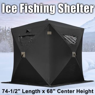 Black Ice Fishing Shelter Tent 1 Person 2 Man Pop Up Portable Fish