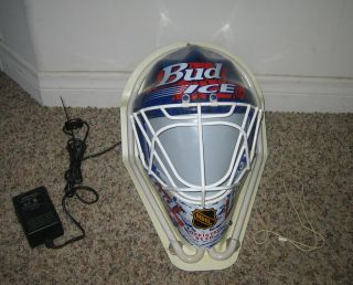 Ice Budweiser Beer Neon Lighted Electric Indoor Sign NHL Hockey Goalie