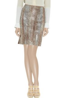 Reed Krakoff Metallic coated python mini skirt