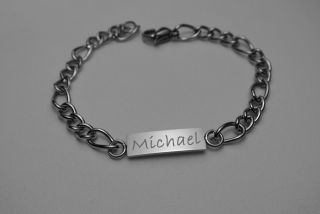 Personalized Stainless Steel Childrens ID Bracelet Custom Engraved