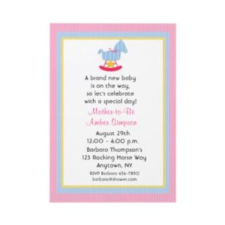 Pink Rocking Horse Baby Shower Invitation by StarStock