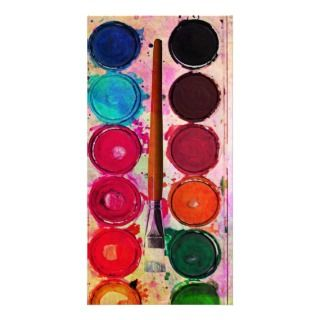 Fine Art Paint Color Box & Funny Artist Brush Photo Cards