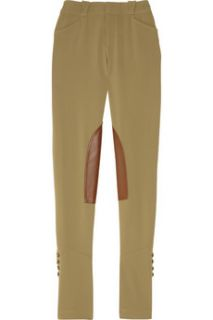 Ralph Lauren Black Label Ryland leather trimmed wool blend pants   60% Off