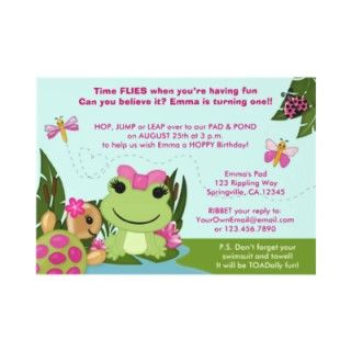 Girl FROG birthday invitation pink pond turtle by MonkeyHutDesigns