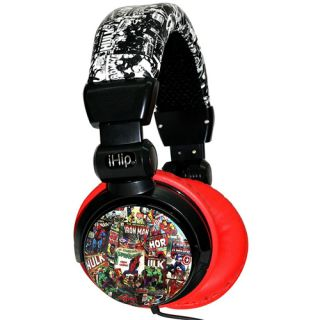 iHip MVF10264RT Marvel Retro DJ Style Headphones Red Black