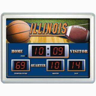 Illinois Fighting Illini NCAA Scoreboard Digital Wall Clock w Temp and