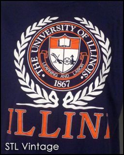 vtg 80s retro ILLINOIS FIGHTING ILLINI T SHIRT soft thin NCAA snapback