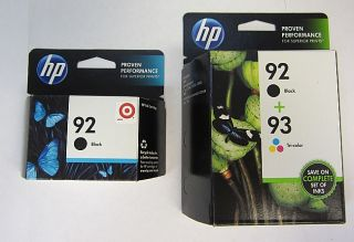 HP Combo Pack 2 92 Blacks and 93 Tri Color Office Jet Ink Cartridges