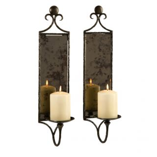 Imax Corp 6948 2 Imax Corp 6948 2 Hammered Mirror Wall Sconce   Set of