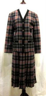 vintage pendleton gray red 100 % virgin wool tartan plaid skirt suit