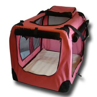 Dog House Soft Crate Carrier Cage Kennel 30  inch Medium Pink