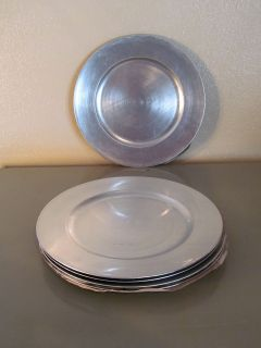 Decorative 13 Melamine Hard Plastic Silver Chargers Plates Set of 6