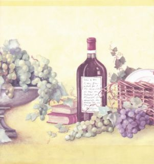 Kitchen Grape Wine Bottle Picnic Basket Y Wallpaper Border Wall