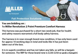 Miller Revolution Fall Protection Safety Harness Full Body Complies to