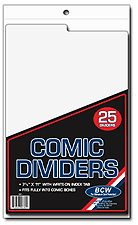 BCW Tabbed White Plastic Comic Book Box Dividers 7 1 4 x 10 3 4