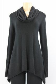 Inc Women Sweater Scoop Neck Asymmetrical Hem Black Size M