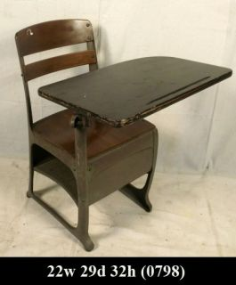 Vintage Metal and Wood School Desk with Chair 0798 J