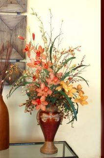 Terra Cotta and Gold Orchid Silk Flower Arrangement New