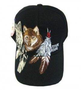 Native Pride American Indian Wolf Feather Hat Cap