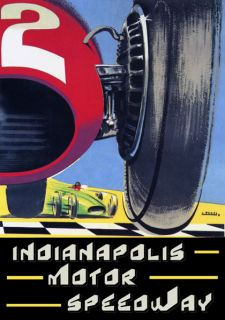 Indianapolis Motor Speedway Race Car Art Deco Style Poster Repo Free s