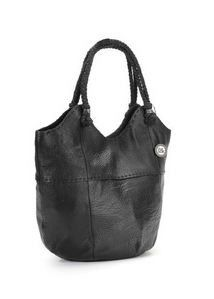 The Sak Womens Indio Black Leather Medium Tote Hobo Handbag Braided