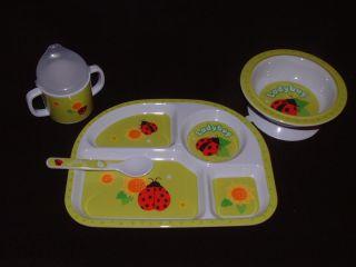 Nice Set of Lady Bug Melamine Infant Baby Feeding Dishes O