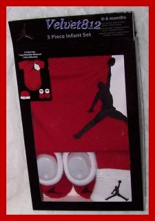 Awesome Nike Air Jordan Baby Boy 3pc Red Infant Gift Set Sz 0 6 Mos