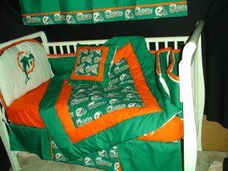 Baby Nursery Crib Bedding Set w Miami Dolphins Fabric