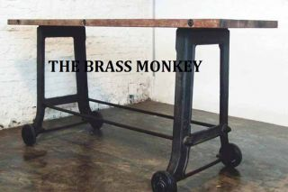 Versatile Industrial Reclaimed Wood Bar Table Cast Iron Base w Casters