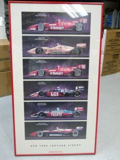 Vintage 1996 Honda Indy Car Racing Poster with Frame and Glass