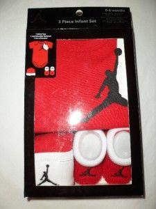 Nike Air Jordan Baby Infant Boys Onesie Romper Set Hat Shoes Booties