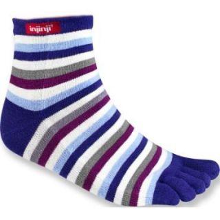 Injinji Rainbow Strip Mini Crew Toe Socks Womens Medium M Purple
