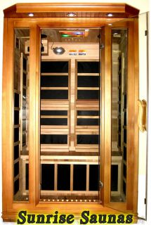 INFRARED SAUNA 2 PERSON RED CEDAR CARBON HEAT 8 HEATERS