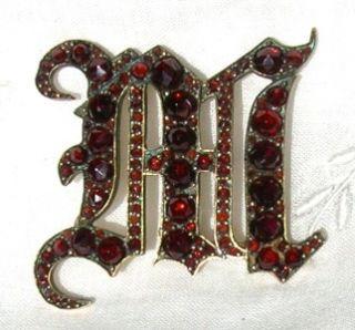 Antique 10K Gold Bohemian Garnet Initial M Brooch Pin