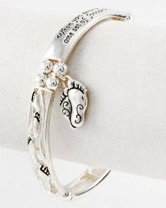 Foot Print Inspiration Charm Filigree Message Stretch Bracelet
