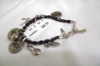 Brazil Inspirational Wish Bracelet Black Silver Charms $88