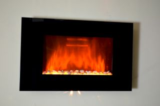 GV Tempered Glass Panel Electric Fireplace Heater 1500W Heater Flame