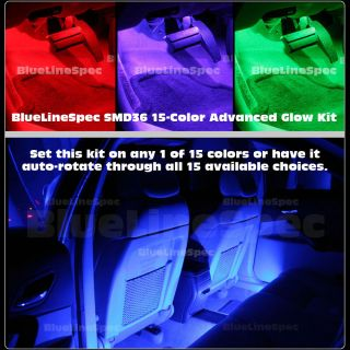 15 Color Interior LED Glow Light Neon Kit for Car Truck SUV Y
