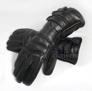 Winter Motorcycle Gauntlet Leather Insulated Gloves L Large