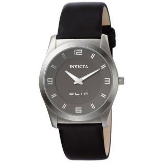 INS5139 Invicta Ultra Slim New Black Leather Mens Watch