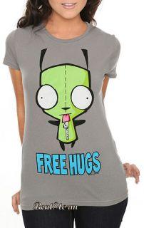 Cute Invader Zim Alien Gir Free Hugs Girls T Shirt Tee Gray Blouse Jr