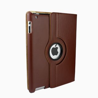 For New iPad3 iPad2 Cover with 360 Rotating Leather Case Swivel Stand