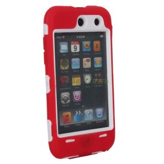 Deluex 3 Piece Hard Skin Case Cover for iPod Touch 4G 4th White Red