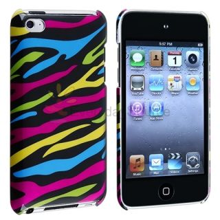 Color Zebra Hard Rubber Skin Case Cover For Apple Ipod Touch 4 Gen 4th