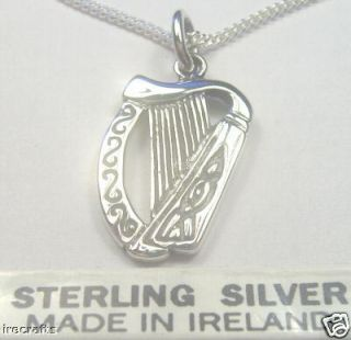 Sterling Silver Celtic Harp Necklace Pendant Irish Made Music Chain