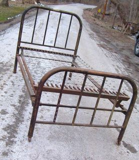 ANTIQUE IRON METAL TWIN BED WITH ORIGINAL SIDE RAILS AND BOX SPRINGS